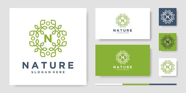 자연 라인 아트 스타일 로고 디자인
