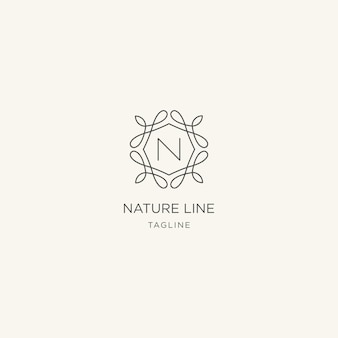 Nature line logo premium with letter n style logo template
