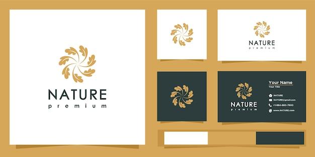 Логотип линии природы со стилем линии. дизайн логотипа и визитная карточка