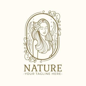 自然線画女性ロゴテンプレート