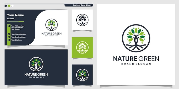 Nature logo abstract with modern style premium vector