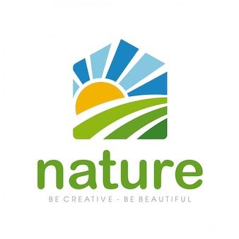 自然のロゴと農場のロゴ