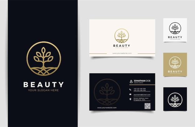 Nature logo and business card design template, beauty, health, spa,