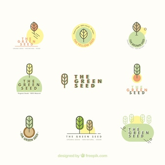 Nature logo collection with flat design