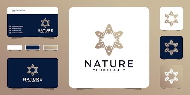 自然のロゴデザインのインスピレーション、ねじれた葉と名刺