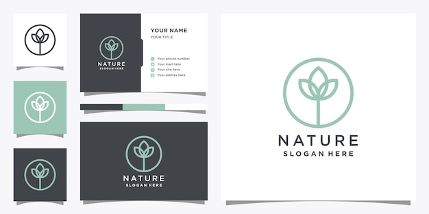 Nature logo design with creative concept and business card.