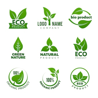 Nature logo. herbal organic eco natural health  with vector leaf set