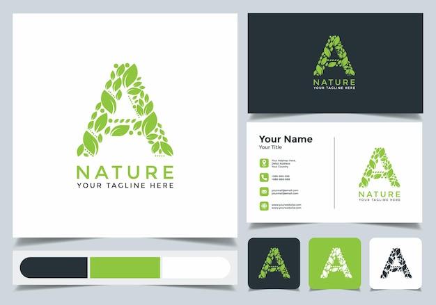 Логотип природы начальной буквы a с визитной карточкой