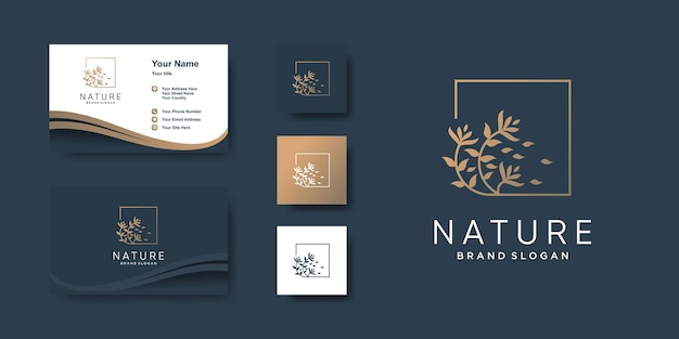 Nature logo template with creative style and business card design premium vector
