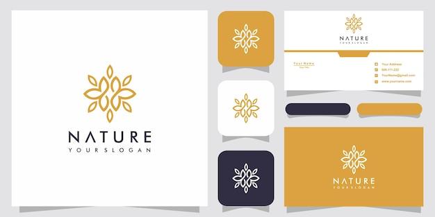自然のロゴのテンプレートと名刺のデザインプレミアムベクトル
