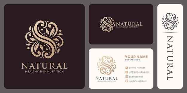 원형 모양의 선형 잎 장식이 있는 자연 로고.