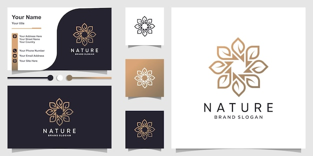 Nature logo with creative flower concept and business card