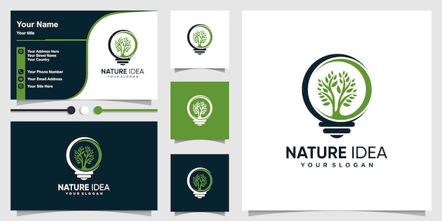 Nature logo with creative idea tree concept and business card design premium vector