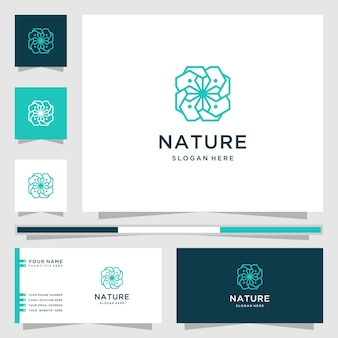 꽃 라인 아트 스타일의 자연 로고. 로고는 스파, 미용실, 장식, 부티크에 사용할 수 있습니다. 및 명함