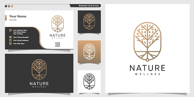 Nature logo with golden luxury line art style and business card design, tree, gold