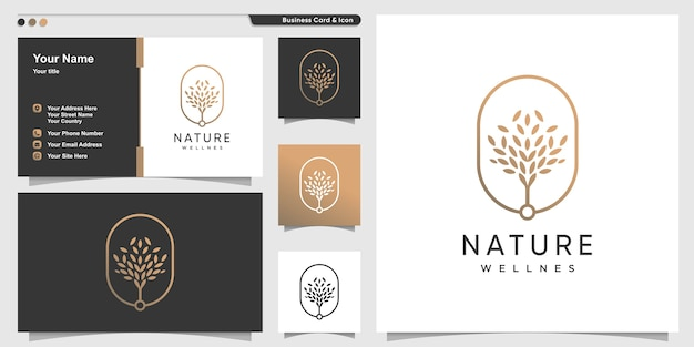 Nature logo with golden premium tree outline style and business card design template