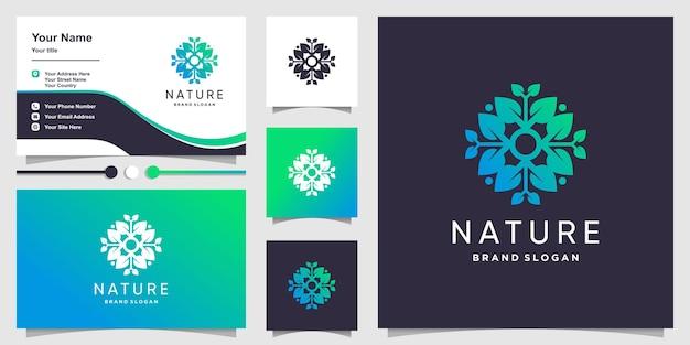 Логотип природы с градиентной концепцией свежих листьев и дизайном визитной карточки premium векторы