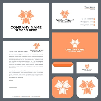 Nature logo with people concept design and business card premium