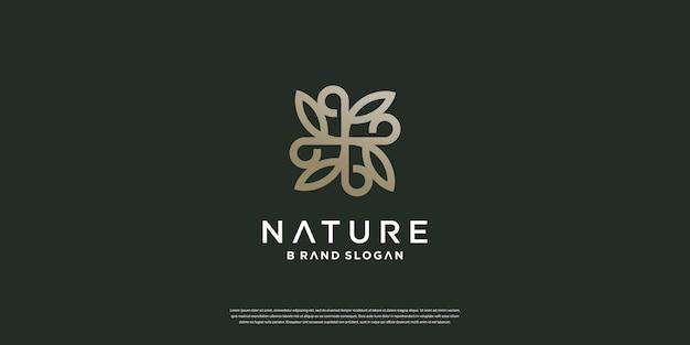 Логотип природы с простой и минималистской уникальной концепцией premium векторы