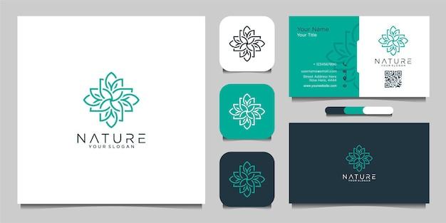 Логотип природы с простой цветочной концепцией и визитной карточкой premium векторы