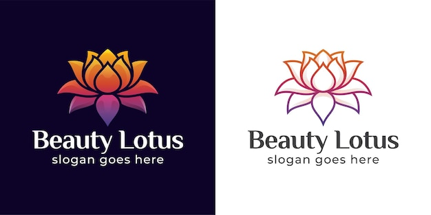아름다움 연꽃과 스파 꽃 상징의 자연 로고