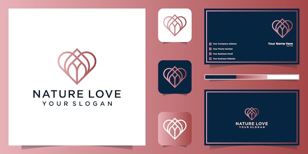 Nature love logo line art style and business card
