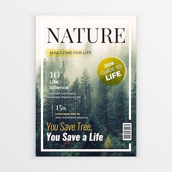 Nature magazine cover design template