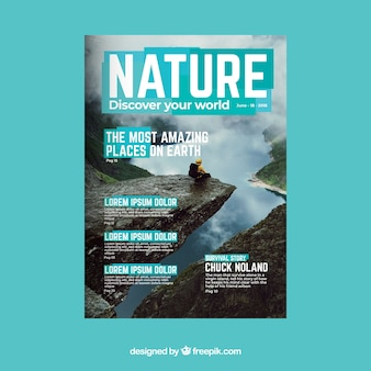 Nature magazine cover template with photo