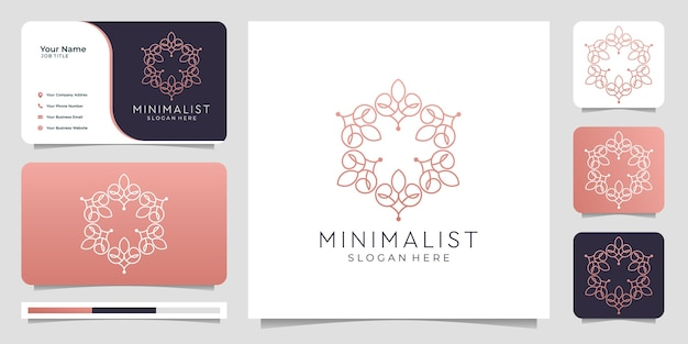 Nature minimalist and monogram template,line logo design,business card