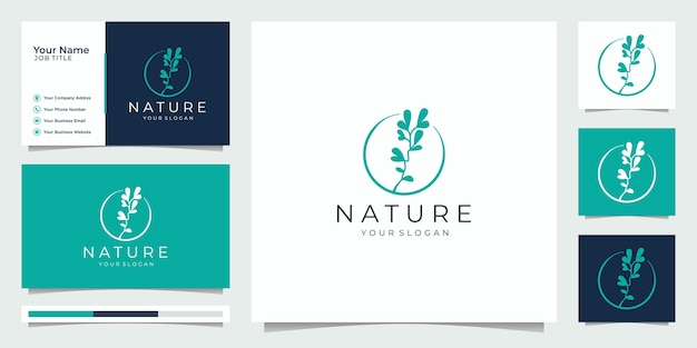 Nature minimalist simple and elegant floral monogram template