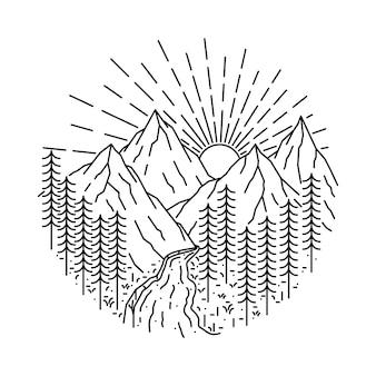 Nature mountain river wild line illustration