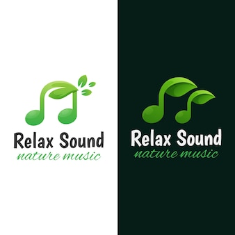 Логотип музыки природы. расслабляющий звук логотип шаблон