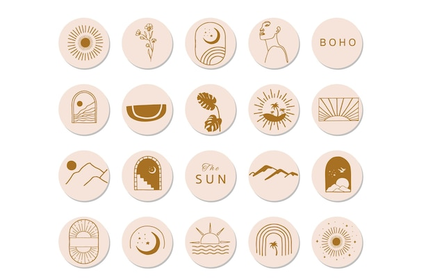 Nature object collection with sun design illustration Premium Vector
