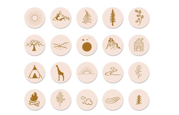 Коллекция объектов природы с солнечными горами для соцсетей