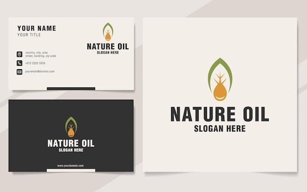 Nature oil logo template on monogram style