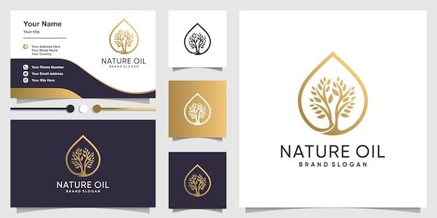 Логотип природного масла с современной концепцией дерева и дизайном визитной карточки