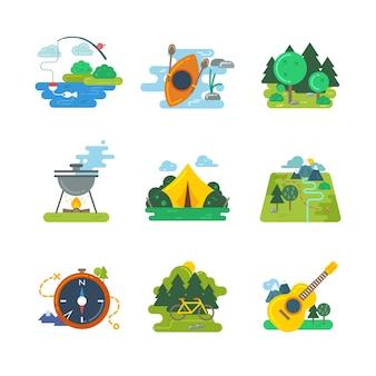 Активный отдых на природе, на природе и в лесу. приключения на открытом воздухе, походы и спортивное ориентирование, велосипедные путешествия, векторные иллюстрации