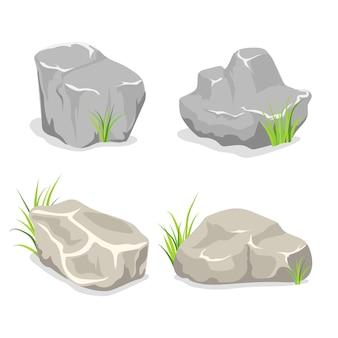 푸른 잔디 일러스트와 함께 자연 야외 바위 돌