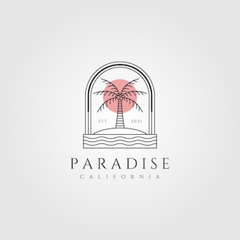 Nature palm tree line art logo illustration
