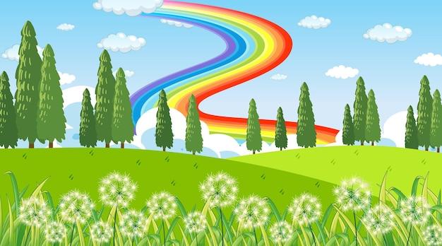 Фон сцены природного парка с радугой в небе