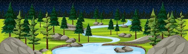 Природный парк с речной пейзажной панорамой в ночной сцене