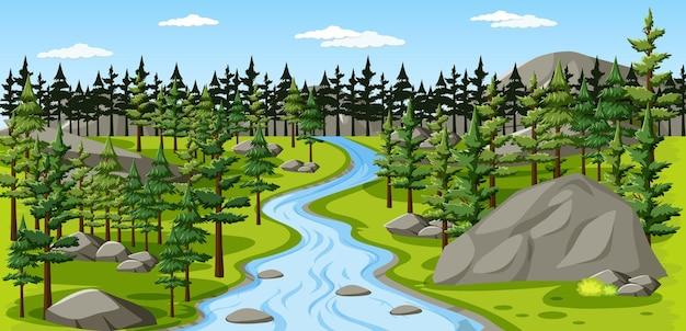 Nature park with river landscape scene