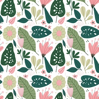 Nature pattern with flowers and leaves