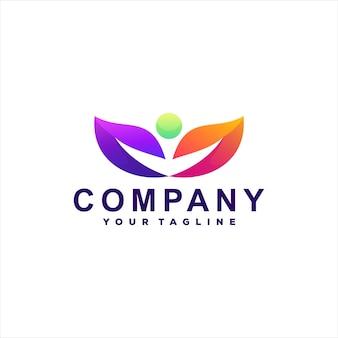 Дизайн логотипа градиента людей природы