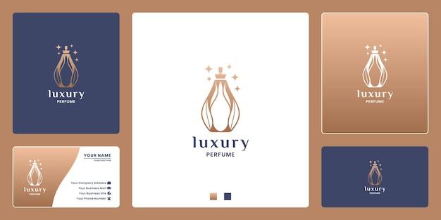 化粧品の自然香水のロゴデザイン。葉の組み合わせとボトル