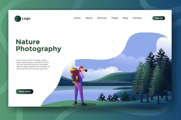 ウェブサイトまたはモバイルアプリのランディングページの自然写真イラスト