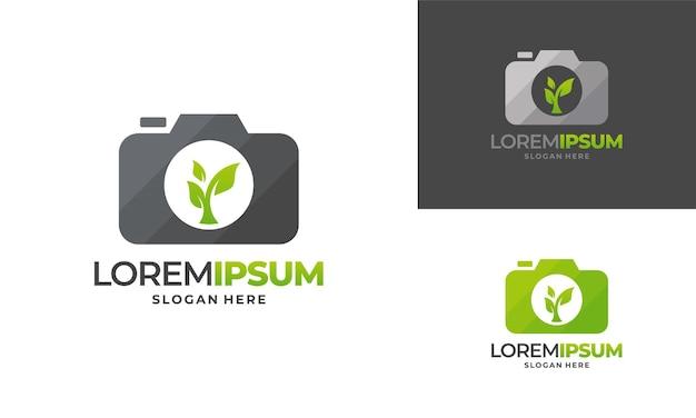 자연 사진 로고 디자인 개념 벡터, 잎 및 카메라 로고 템플릿 아이콘