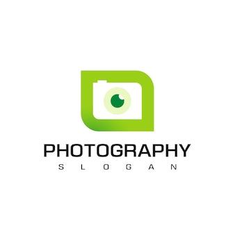 Nature photography logo template with  silhouette camera on leaf background