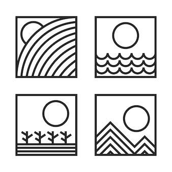 自然の絵。丘、海、デザート、山モノリン幾何学スタイルのアイコンイラスト
