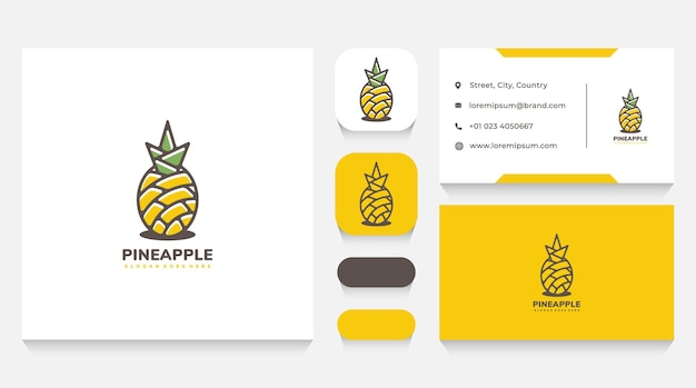 Шаблон логотипа ананас природы и визитная карточка